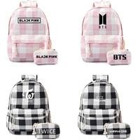 NEW Kpop BT21 Bangtan Boys BTS EXO GOT7 TWICE Printed Canvas Backpack Fashion Women Girl Plaid Bag with Pencil Bag