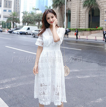 Spring and summer new style Mid-length openwork lace tassel dress High waist slimming seaside holiday beach