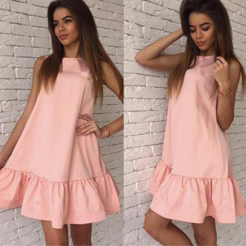 A-Line Summer Dress Women Solid Ruffles Sleeveless Short Ladies Casual Dress Fashion Loose Beach Boho Mini Women Dress New LD57