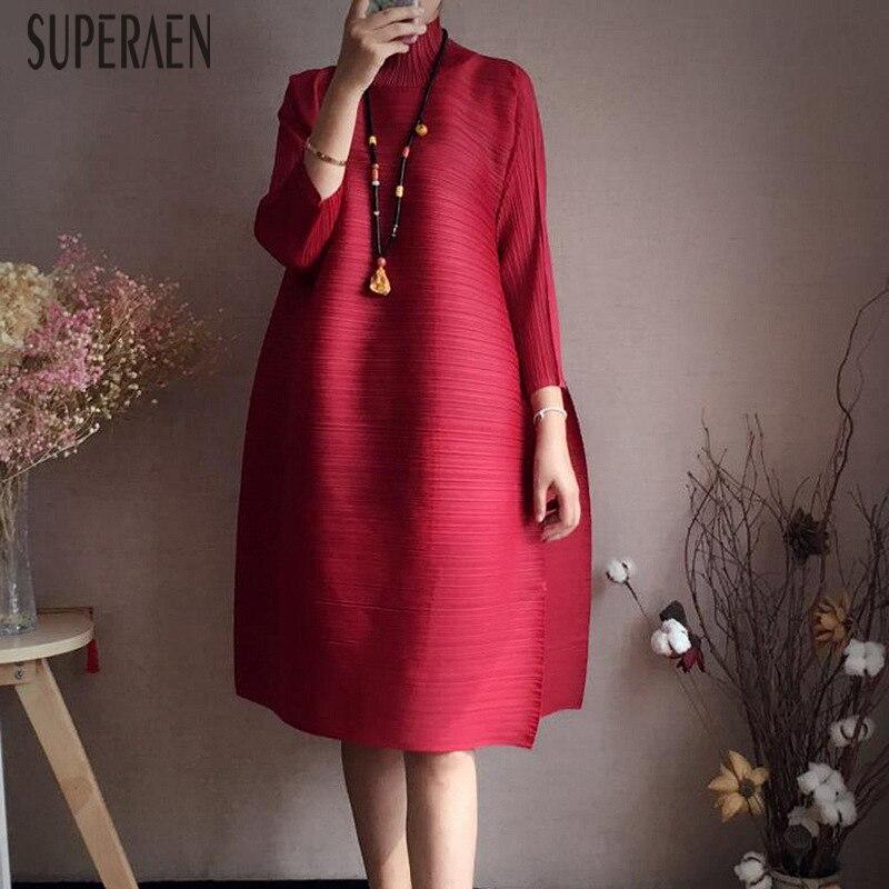 SuperAen New Autumn and Spring 2019 Women Dress Temperament Loose Pluz Size Dress Female Solid Color