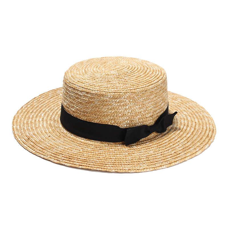 79edf4514 ... Unisex Summer Straw Hats Women Wide Brim Flat Top Beach Sunhat  Sombreros Mujer Men's Boater Hat ...