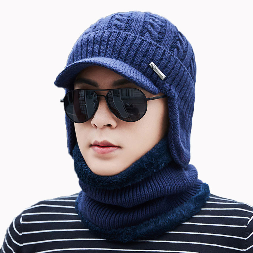 Men Winter Hat And Scarf Set For Women Scarves Cap With Brim Knitted Visor Skullies Beanies Male Warm Earflaps Caps Balaclava