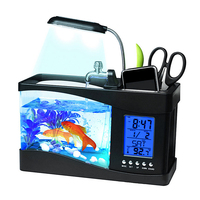 1 5L Mini Desktop Aquarium USB Fish Tank Desktop Lamp LCD Timer Alarm Clock LED Light