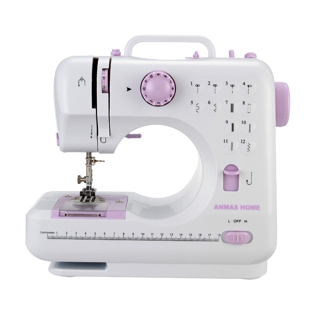 12 Stitches Mini Sewing Machine Electric Overlock Household Walking Foot Foot Pedal Sewing Sew Machine Double Thread Speed