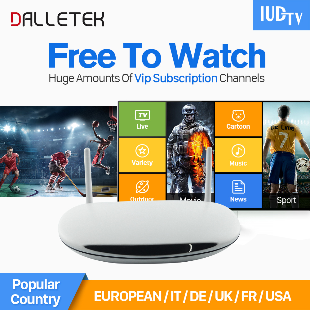 Dalletektv Android Smart TV Box 1Year Free IUDTV Account IPTV 1700 Channels Europe French Italy Germany UK Arabic Set Top Box dalletektv leadcool iptv smart android tv box h265 stb with iptv europe arabic qhdtv iudtv account iptv 1 year subscription