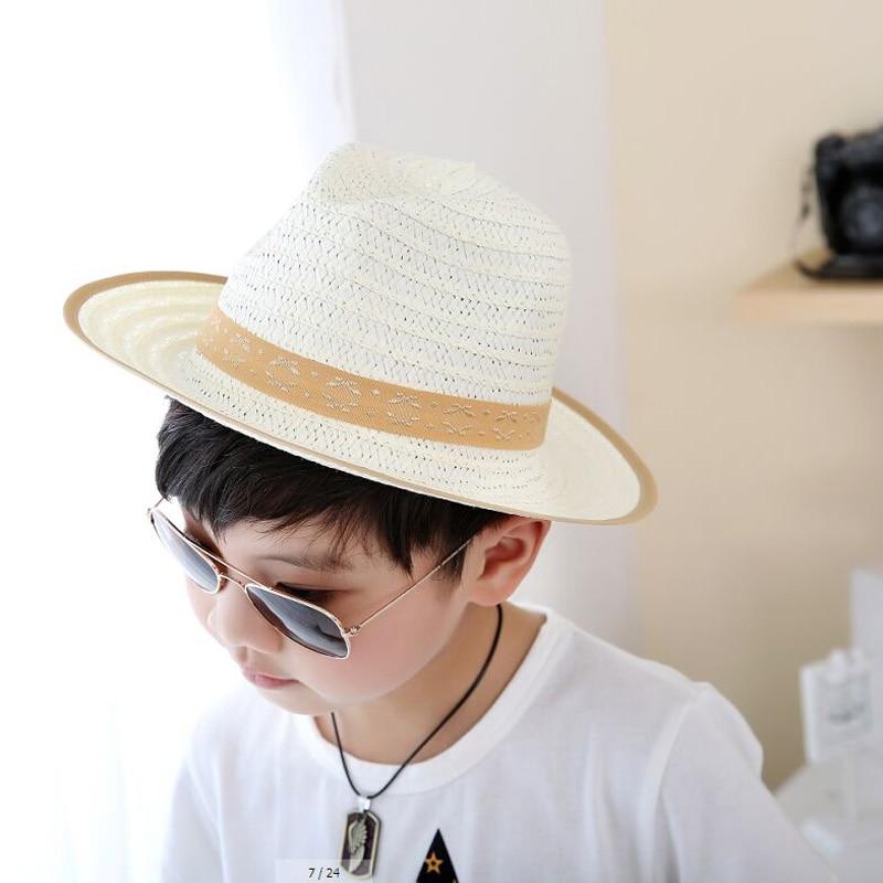 687a6acf5 5 قطعة/الوحدة 2017 جديد الكورية الأطفال أحد قبعة الربيع الصيف بوي شاطئ سترو  القبعات الاطفال قبعات 7 ألوان 8092