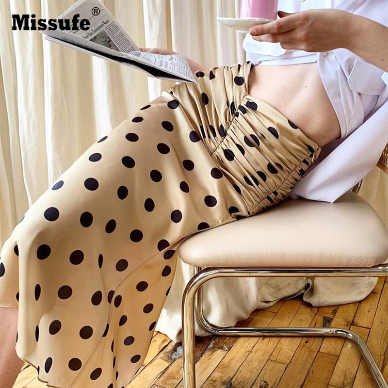 Missufe High Waist Wrikle Pencil Skirts Women Polka Dot Summer Sexy Bottom Elegant Slim Streetwear Women Midi Skirts Female in Skirts from Women 39 s Clothing
