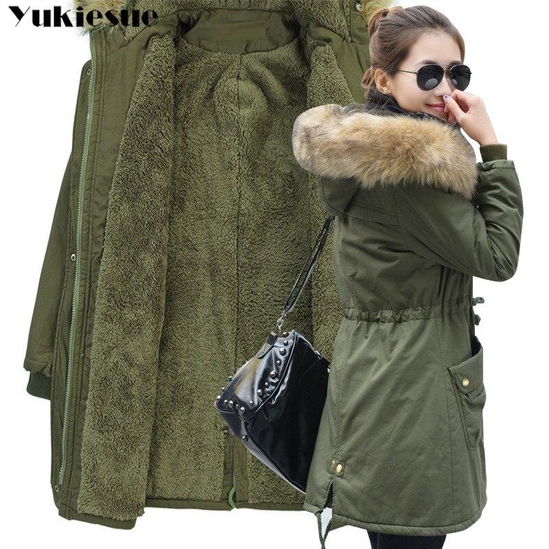 Модные осенние теплые зимние куртки, Женская длинная парка с меховым воротником, большие размеры, Повседневная Хлопковая женская верхняя одежда, парка, большие размеры