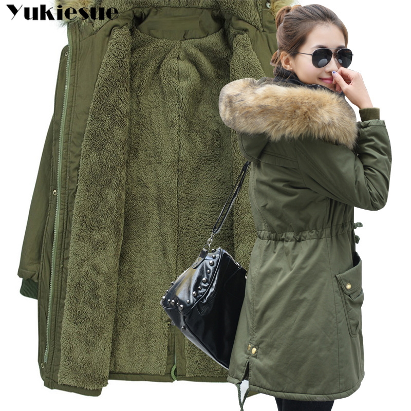 Image 1 - Fashion Autumn Warm Winter Jackets Women Fur Collar Long Parka Plus Size lapel Casual Cotton Womens Outwear Park  Plus size-in Parkas from Women's Clothing