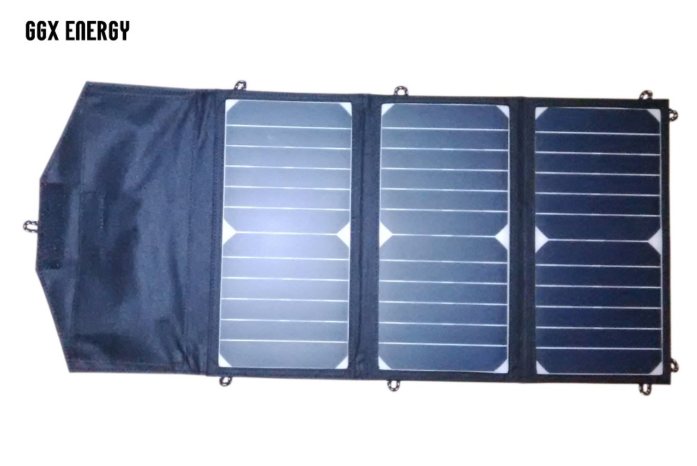 GGX ENERGY 21 Watt Foldable Sunpower Solar Cells Panel + 20000mah Power Bank Portable Battery for Laptop/Mobile Phones/Tablets sunpower 21 watt portable folding solar panel charger for ipad tablets mobile phones smart phones iphone 2xusb out