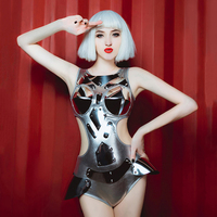 Jazz Costumes Women DJ DS Gogo Dancer Outfit Nightclub Singers Silver Bodysuit Pole Dance Jumpsuit Rave Dancing Wear DNV10488
