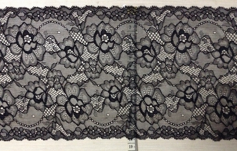 18.5cm luxurious and exquisite elastic jacquard lace, soft and elegant lace trimming,XERY-JC1
