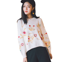 2017 Korean Autumn Winter Fashion New Solid Color Round Collar Full Drop Shoulder Sleeve Loose Embroidered