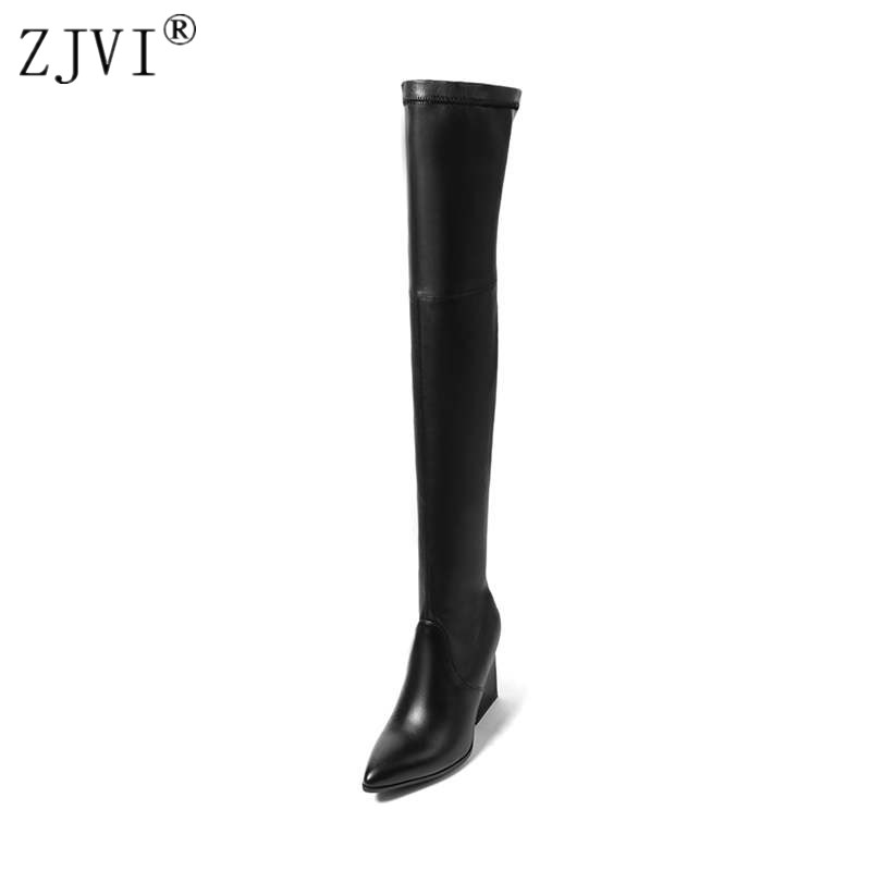 ZJVI women suede stretch high heels over the knee boots woman genuine leather thigh high boots 2018 pointed toe winter shoes nayiduyun new fashion thigh high boots women faux suede point toe over knee boots stretchy slim leg high heels pumps plus size