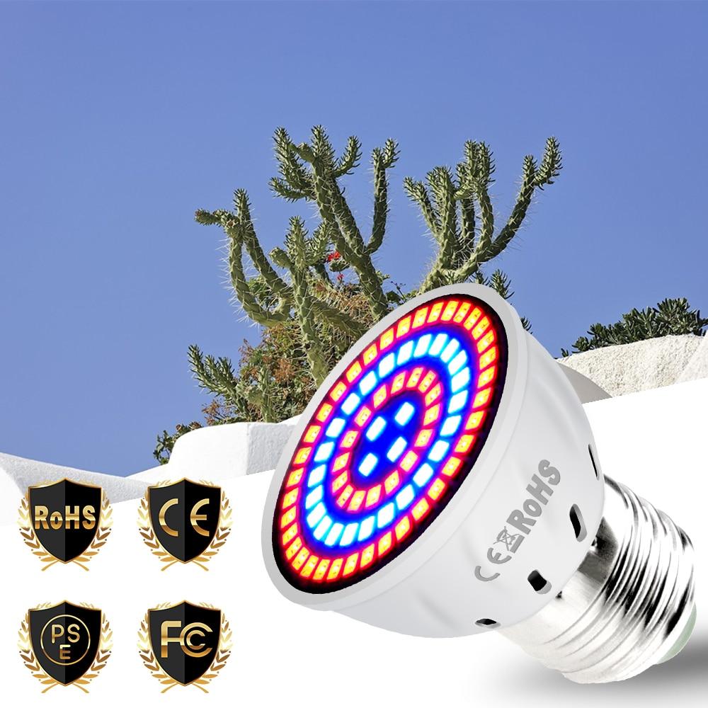 E27 Grow Light LED Phyto Lamp Full Spectrum E14 LED Bulb Flower GU10 Indoor Plant Light MR16 220V Grow Tent 48 60 80led Lamp B22