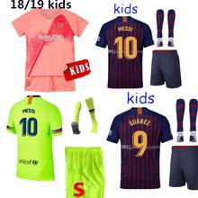 61ccdc4b231 2018 boy child kids kit Barcelonaes jersey 3rd MESSI O.DEMBELE soccer jersey  kids kit Barcelona 3rd shirt football shirt 2