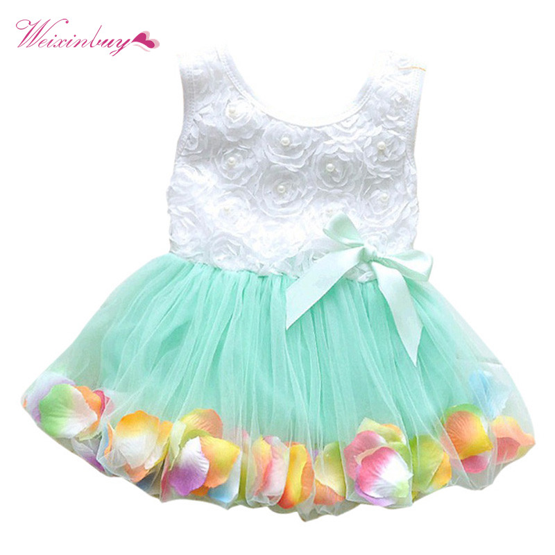2017 New Baby Girls Dress Kids Princess Pageant Party Lace Bow Fake Flower Petal Tutu dresses baby girl dress prom dresses