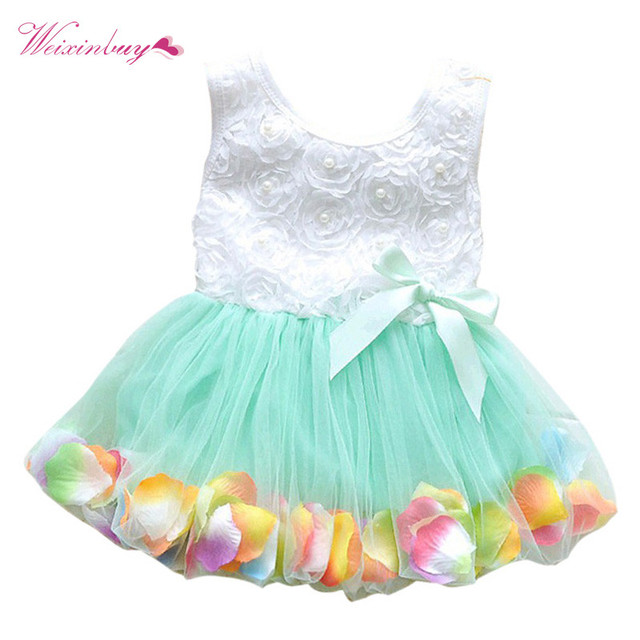 00b6ca9b91cb9 2017 New Baby Girls Dress Kids Princess Pageant Party Lace Bow Fake Flower  Petal Tutu dresses