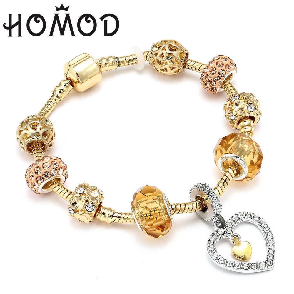 Crystal Heart Gold Color Charm Bracelet For Girl Glass Beads Bracelet For Women DIY Jewelry Gift Light Yellow Gold Color 19cm