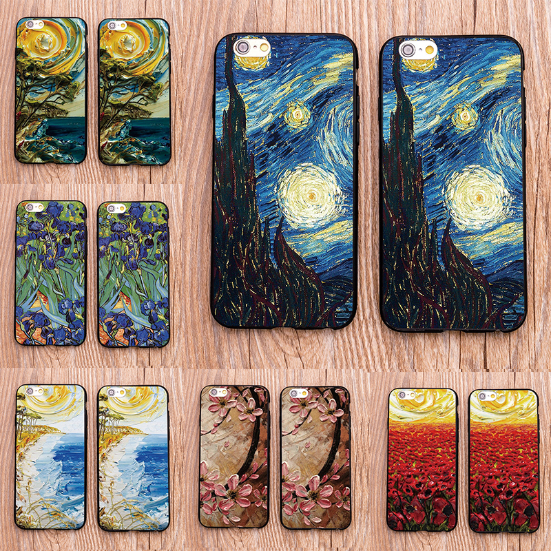Cellphones & Telecommunications Symbol Of The Brand Sunflower Vincent Van Gogh Starry Sky Oil Painting Back Cover For Iphone 8 8 Plus X 7 7s 7 Plus 6 6s Phone Cases For Iphone 8 Fitted Cases