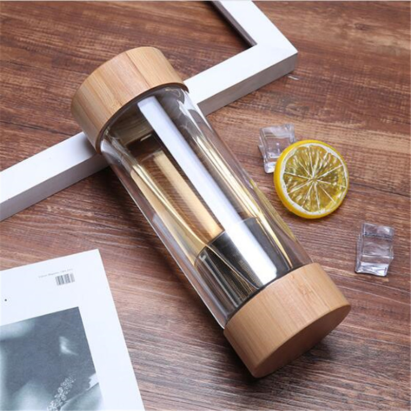 Image 5 - 300ml 400ml Travel Glass Water Bottle with Stainless Steel Tea Infuser Filter Double Wall Glass Sport Water Tumbler Bamboo LidWater Bottles   -