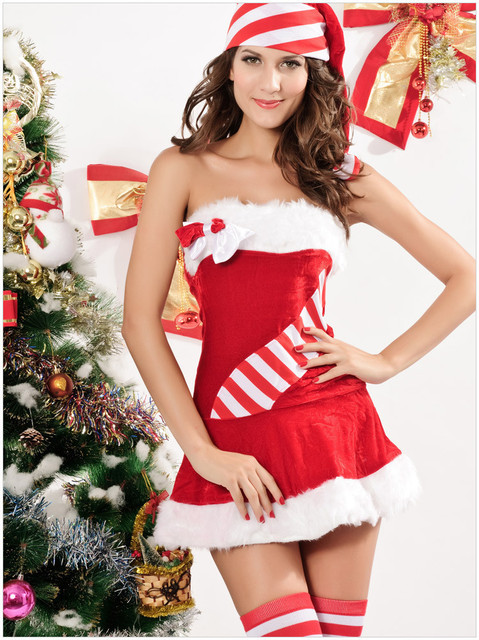 56b966c2536 Erotic Christmas Jingle Bells Underwear Costumes for Women Santa Claus Costume  Sexy Movie Cosplay Costumes--CC002