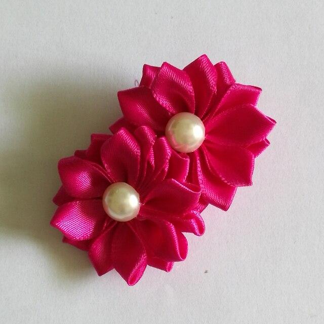 Pearls flower clips 2inch satin ribbon daisy kanzashi hair flower pearls flower clips 2inch satin ribbon daisy kanzashi hair flower with clip girls hairclip barrettes kids mightylinksfo
