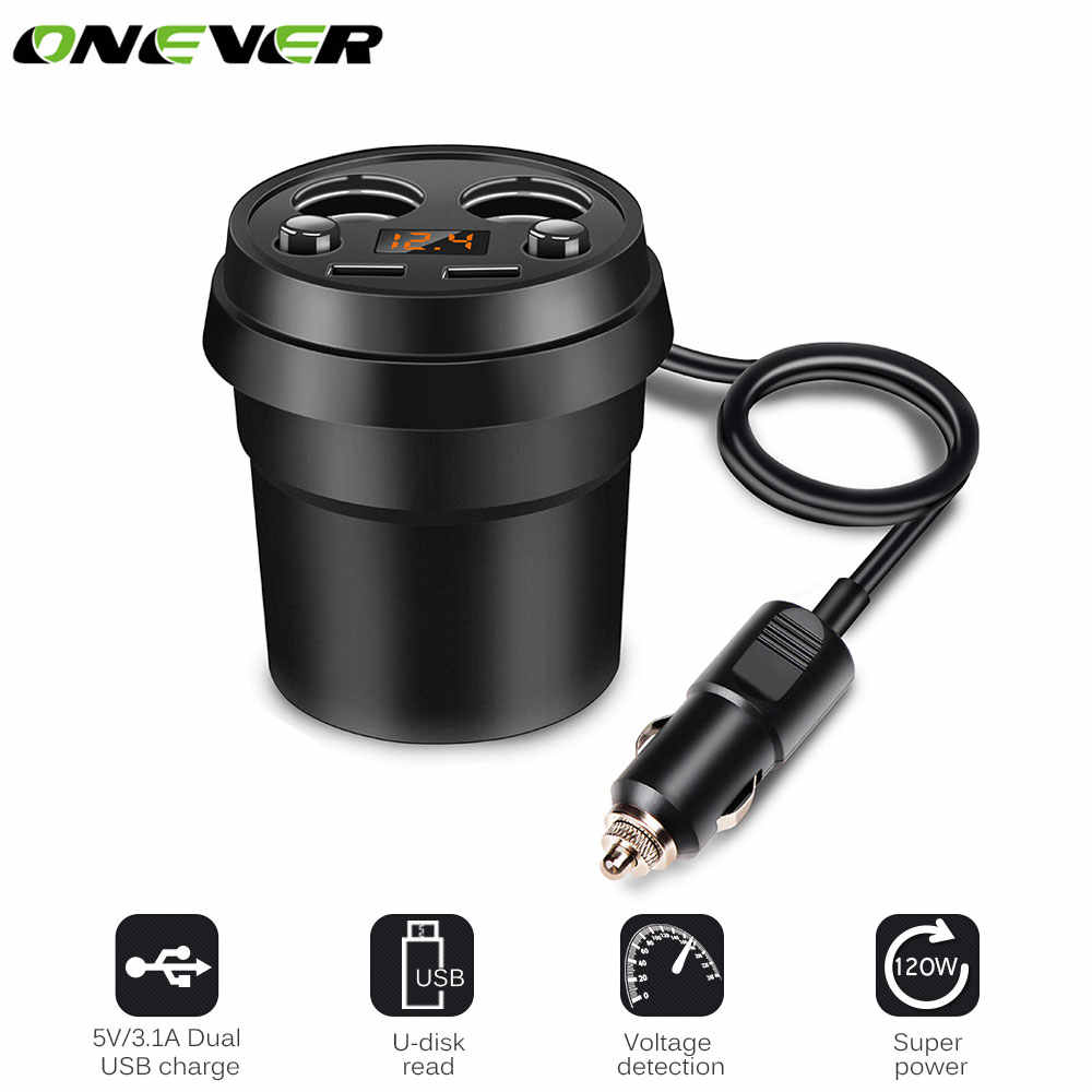 Onever Cup Car Charger LED Display Voltage 3.1A Dual USB 12-24V Car Cigarette Lighter Splitter Power Adapter Charge For GPS DVR
