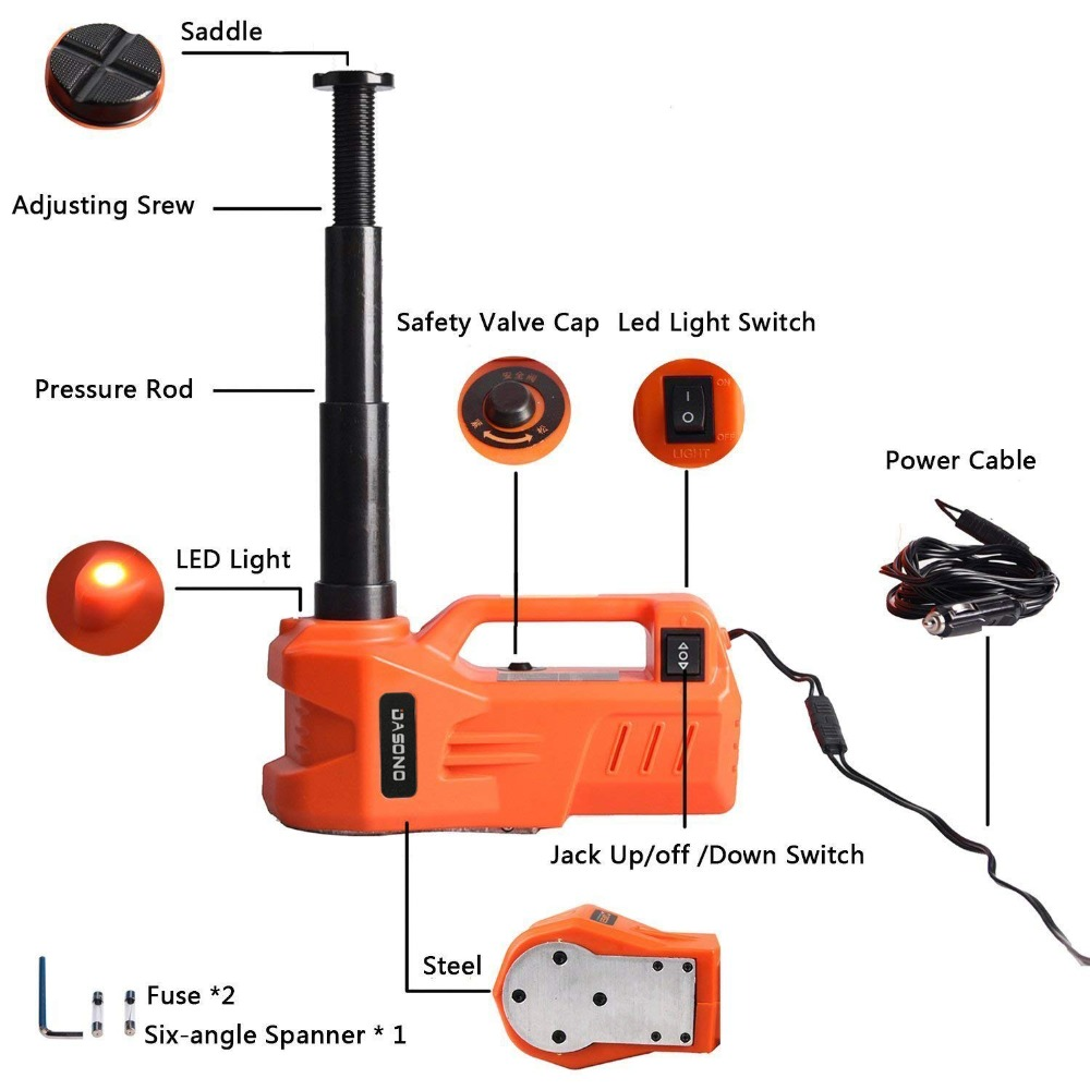 KUNFINE 12V 3Ton 150 W Rated Power 13 A Max.Current Car Electric Tire Lifting Car Jacks Hydraulic Air Infatable Car Floor Jack