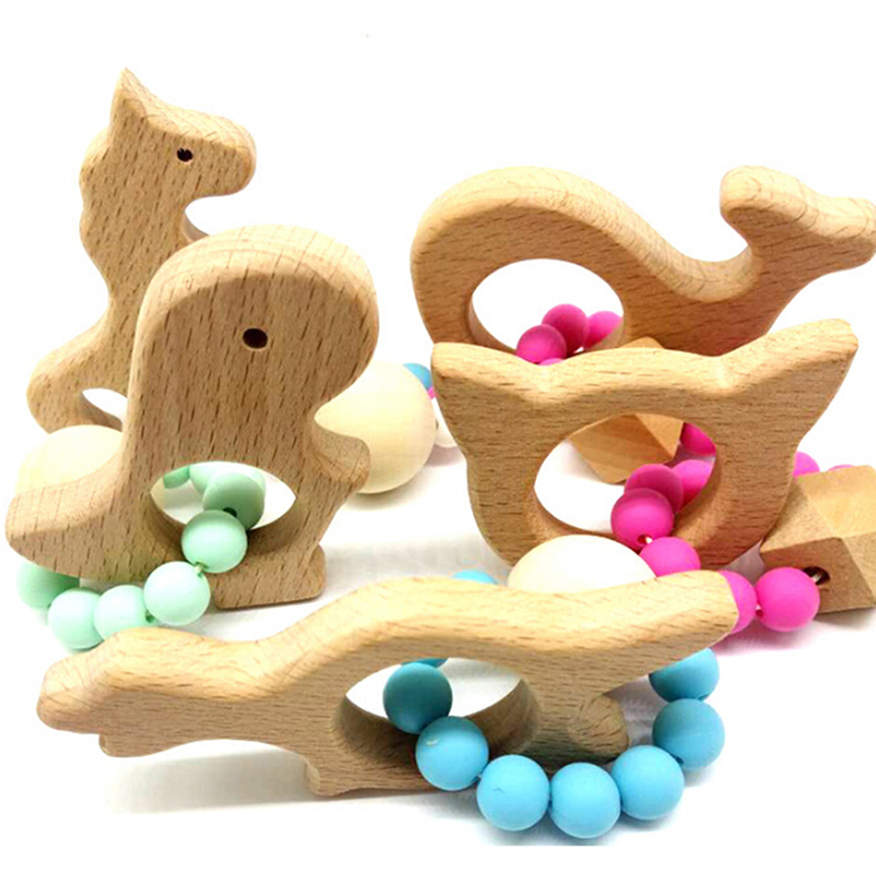 Baby Rattle Stroller Accessories Toys Wooden Baby Bracelet Animal Shaped Jewelry Teething For Baby Organic Wood Silicone Beads
