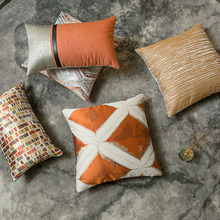 Light extravagance geometric dobby cushion cover 30*50cm 45*45cm solid corlorful pillow hotel sofa decorative pillowcase