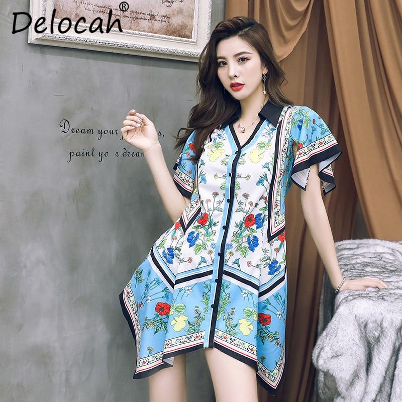 Delocah 여성 봄 여름 드레스 활주로 패션 v 목 꽃 인쇄 주름 우아한 빈티지 비대칭 셔츠 드레스 2019-에서드레스부터 여성 의류 의  그룹 1