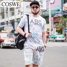 Coswe 6XL свободные короткие комплекты мужские летние футболки шорты костюмы пляжные шорты с принтами футболки мужские broadshorts Homme рубашки костюм