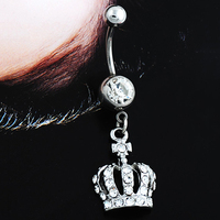 12 Pieces Set Hot Chic Navel Belly Button Ring Crown Rhinestone Crystal Piercing Body Jewelry