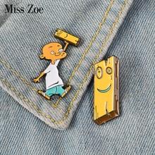 Jonny and Plank Enamel Pin Anime EEnE badge brooch Lapel pin Denim Shirt Collar Childhood Cartoon Jewelry Gift for friends