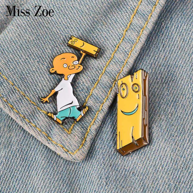 Jonny dan Plank Pin Enamel Anime EEnE Badge Bros Lapel Pin Denim Shirt Kerah Kartun Anak-anak Perhiasan Hadiah untuk Teman-teman