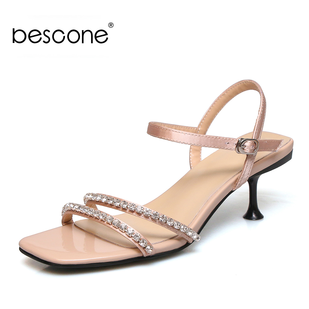 BESCONE Classic Women Heels Sandals High Quality Crystal Decoration Summer Shoes For Female Ladies Work Party