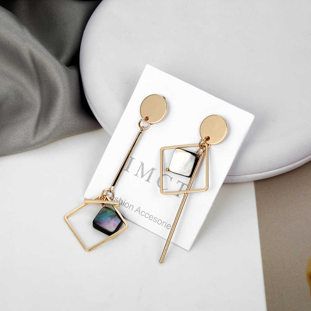Simple Asymmetrical Earrings For Women Acrylic Earrings Gold Round Square Geometric Earrings Korean Style Fashion Pendientes