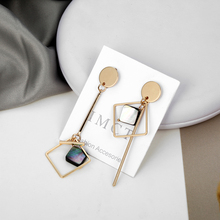 Simple Asymmetrical Earrings For Women Acrylic Earrings Gold Round Square Geometric Earrings Korean Style Fashion Pendientes reticulated round silver earrings simple style earrings