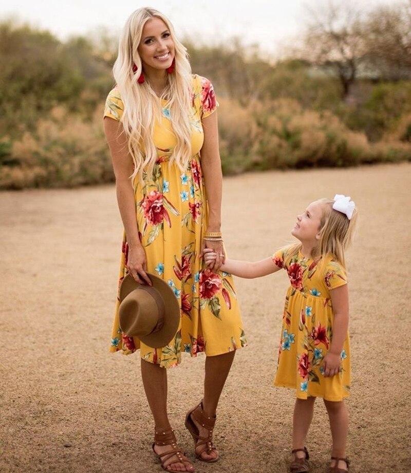 Мама и я платье Праздник семейная одежда пляжное платье В европейском и американском стиле Повседневное костюм для весны и летнее Хлопково... ...