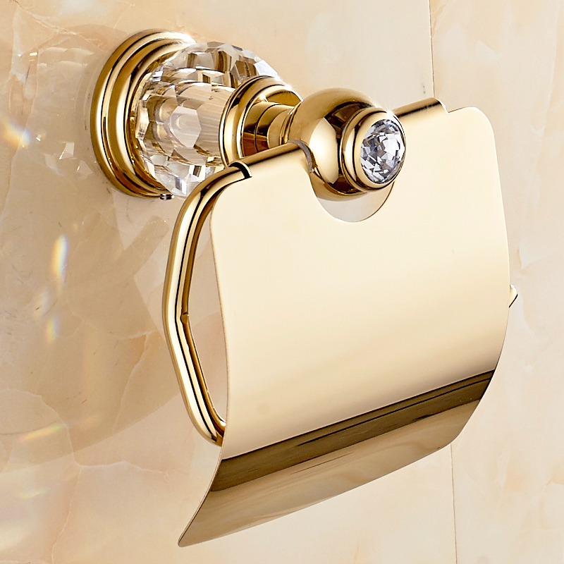Europe Gold Brass Toilet Paper Holder Crystal Toilet Paper Box/Roller Holder Polished Tissue Holder Bathroom Product