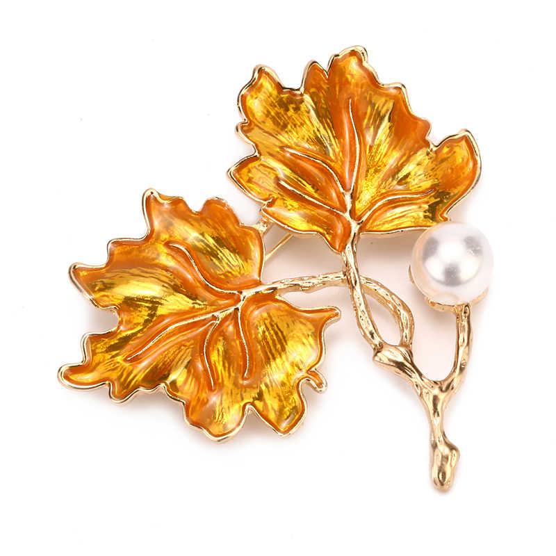 Expoyed الأصفر القيقب دبابيس مقلد اللؤلؤ النبات شجرة دبوس كندا مجوهرات