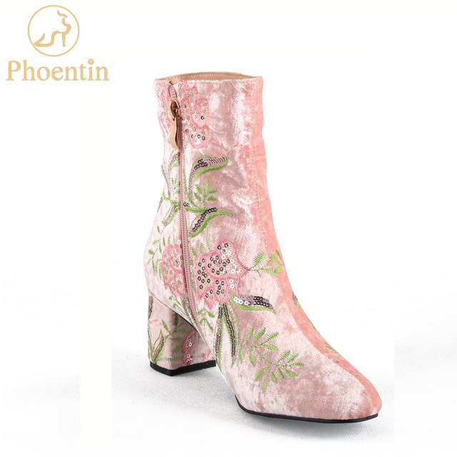 Phoentin embroidery pink women ankle boots with zip 2018 new velvet phoentin embroidery pink women ankle boots with zip 2018 new velvet autumn shoes middle square heels mightylinksfo