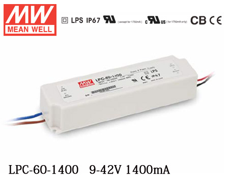 Meanwell LPC-60-1400 Switching power supply LED driver constant current Single output 60W 1400mA for 1pcs Cob Cree CXB3590 led 40w led driver dc140 150v 0 3a high power led driver for flood light street light constant current drive power supply ip65