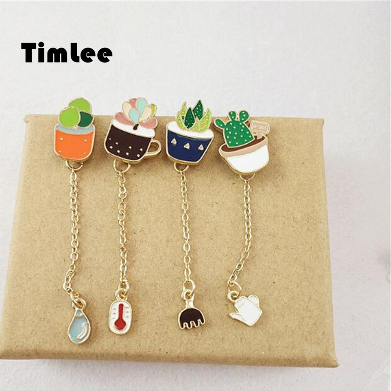 Timlee X001 Free shipping Cute Succulent Potted Aloe Vera Metal Oil Drop Brooch Pins,Fashion Jewelry Wholesale