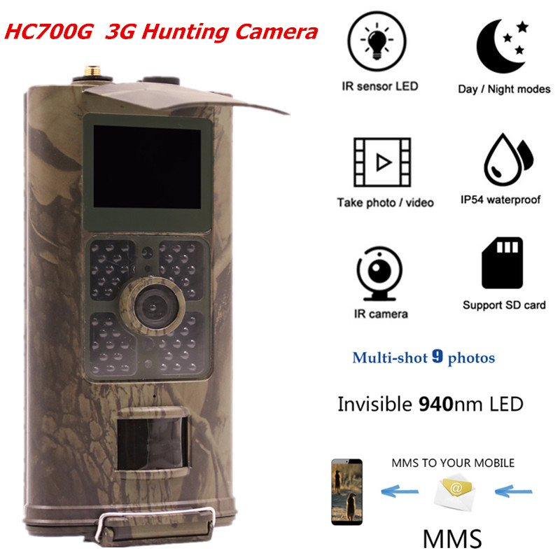 Suntek hc700g Forest Thermal Laser Hunting Trail camera 3G GSM MMS GPRS SMTP 16MP 1080P 120 PIR Degree 940NM Night Vision camera hunting camera 3g hc700g newest suntek hd 16mp trail camera 3g gprs mms smtp sms 1080p night vision 940nm photo traps camera