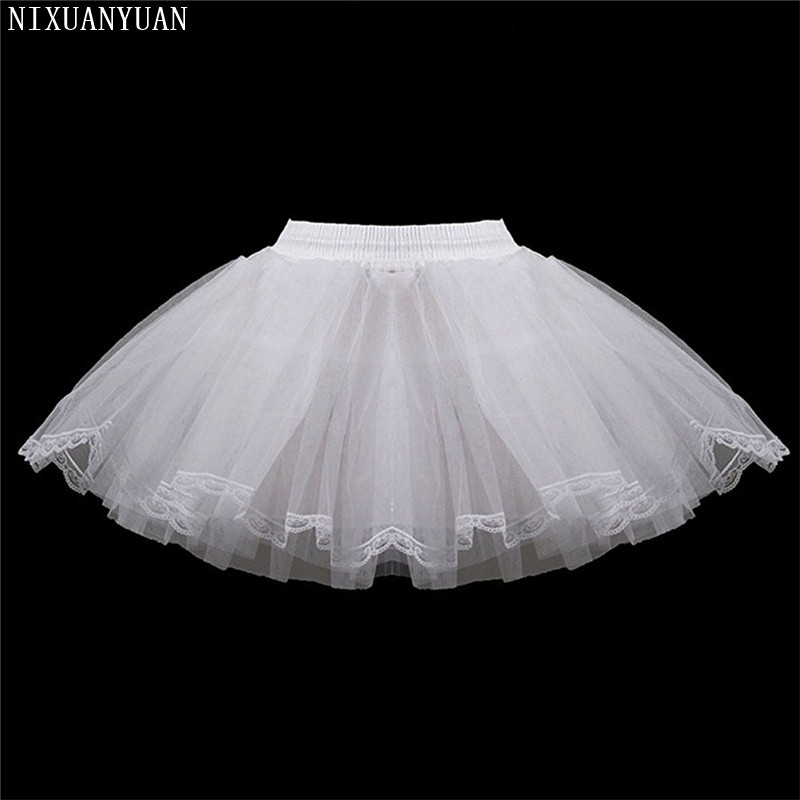 White Short Girls Wedding Petticoats Three Layers Lace Edge Tulle Boneless Petticoat Simple Mini Underskirts For Children