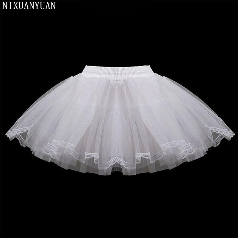 White Short Girls Wedding Petticoats Three Layers Lace Edge Tulle Boneless Petticoat Simple Mini Underskirts For Children
