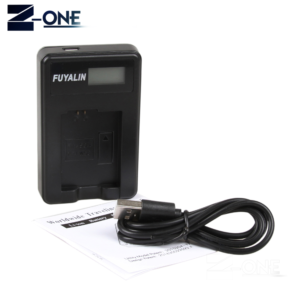 LCD cargador de batería USB NP-FW50 para Sony NEX-7 NEX-F3 6 5N 5R 5 t A7S A7R A7 II A7RII A3100 a5100 A6000 A6100 A6300 A6500 A3500