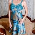 Free Shipping Womens Silk Sleepshirts Satin Sleepwear Sexy  Sleeveless V-Neck Nightwear Nighty for Fashion Girls